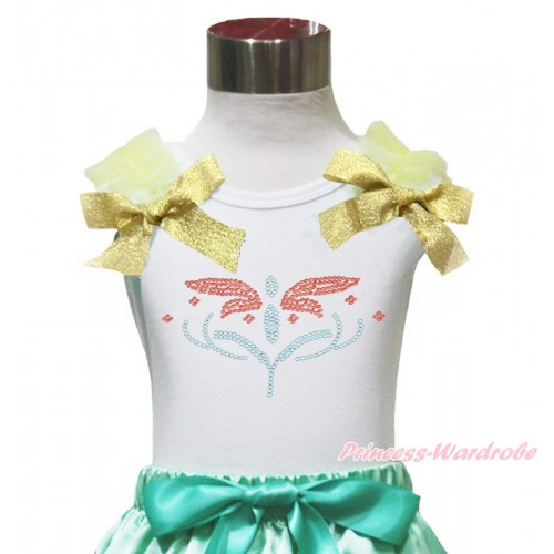 White Tank Top Yellow Ruffles & Sparkle Goldenrod Bow Rhinestone Princess Anna Fever TB1153
