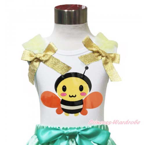 White Tank Top Yellow Ruffles & Sparkle Goldenrod Bow Summer Honey Bee TB1154