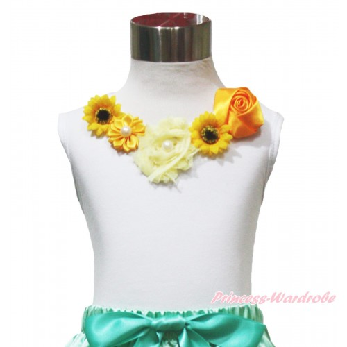 White Tank Top Summer Yellow Satin Vintage Garden Rose Pearl Rosettes Sunflower Lacing TB1155