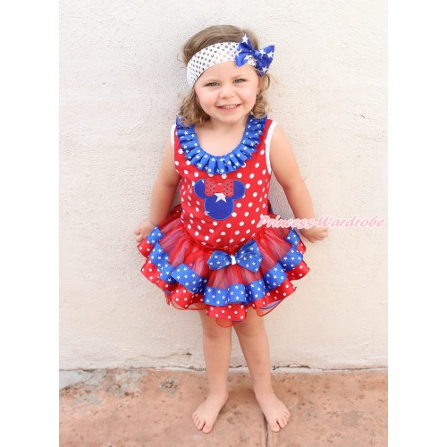 American's Birthday Minnie Dot Tank Top Patriotic American Star Lacing & American Star Minnie & Patriotic Star Minnie Dots Trimmed Pettiskirt MG1677