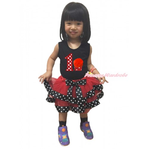 Black Baby Pettitop 1st Minnie Dots Birthday Number Cupcake Print & Red Black White Dots Trimmed Newborn Pettiskirt NG1723