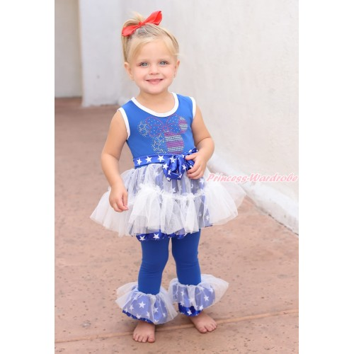 Royal Blue White Patriotic American Star Tutu Ruffles Tank Top & Rhinestone 4th July Minnie Print & Pant Set & White Headband Star Bow P023