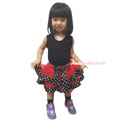 Beetle Red Black White Dots Satin Trimmed Full Pettiskirt Black White Dots Bow P211