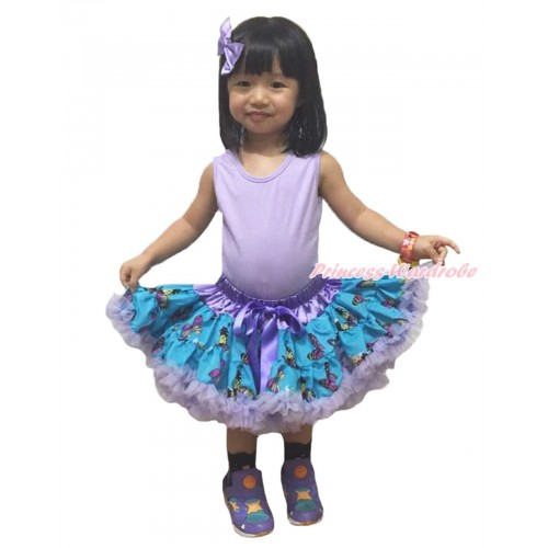 Lavender Peacock Blue Butterfly Full Pettiskirt P212