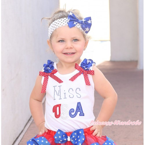 American's Birthday White Tank Top Patriotic Star Ruffle Minnie Dots Bow Sparkle Rhinestone MISS USA TB1139