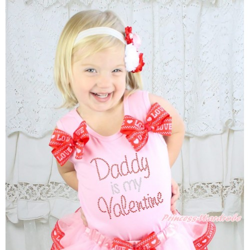 Valentine's Day Light Pink Tank Top Red LOVE Bows & Sparkle Rhinestone Daddy Is My Valentine Print TB1195