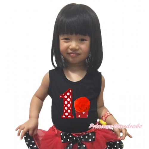 Black Tank Top & 1st Minnie Birthday Number & Cupcake Print TB1196
