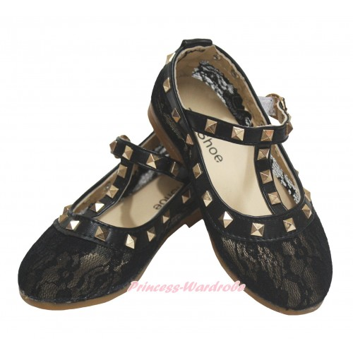 Black Lace Enamel T Strap Stud Rivet Slip On Shoes 8818Black