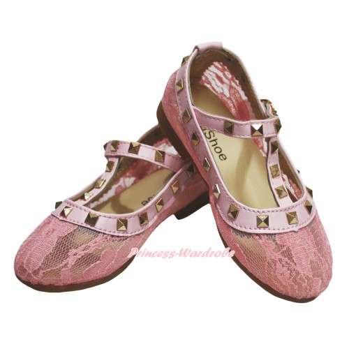 Light Pink Lace Enamel T Strap Stud Rivet Slip On Shoes 8818LightPink