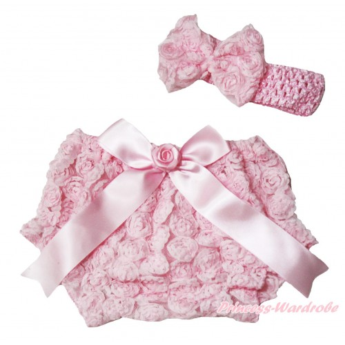 Light Pink Romantic Rose Panties Bloomers & Rose Bow & Headband Rosettes Bow BC196