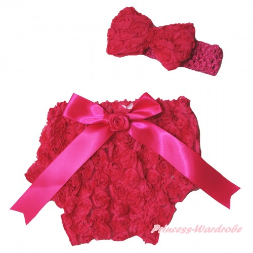 Hot Pink Romantic Rose Panties Bloomers & Rose Bow & Headband Rosettes Bow BC197