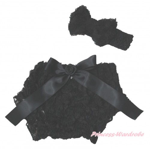 Black Romantic Rose Panties Bloomers & Rose Bow & Headband Rosettes Bow BC198