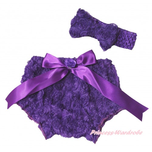 Dark Purple Romantic Rose Panties Bloomers & Rose Bow & Headband Rosettes Bow BC200