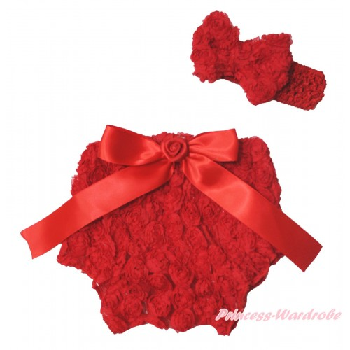 Hot Red Romantic Rose Panties Bloomers & Rose Bow & Headband Rosettes Bow BC201