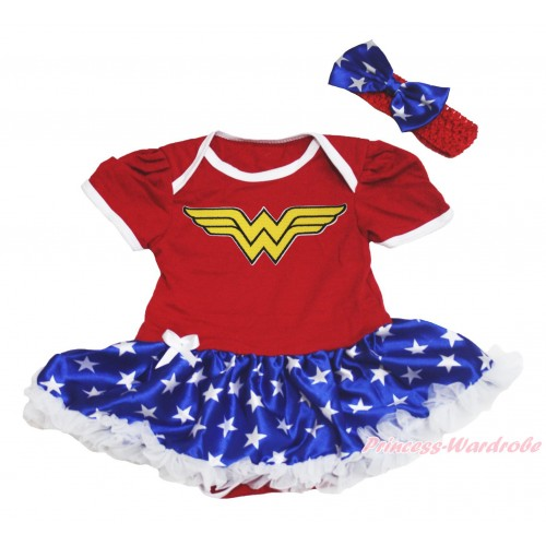 Red Baby Bodysuit Patriotic American Star Pettiskirt & Wonder Woman Print JS4518