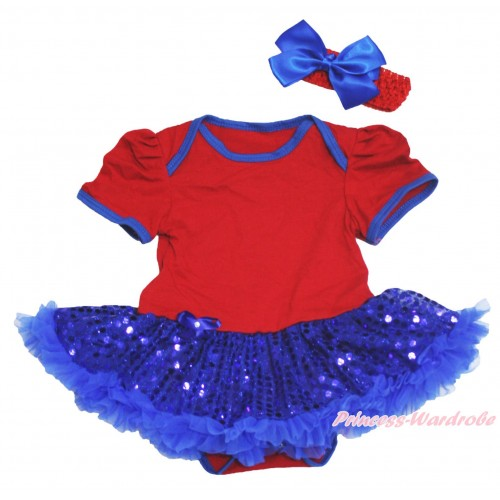 American's Birthday Red Baby Bodysuit Bling Royal Blue Sequins Pettiskirt JS4522