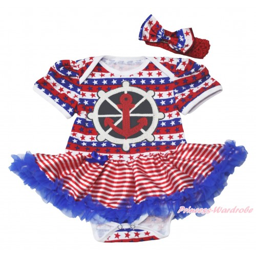 Red White Blue Striped Star Baby Bodysuit Red White Striped Pettiskirt & Red White Blue Anchor Print JS4524