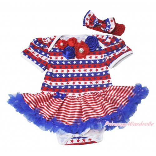 American's Birthday Red White Blue Striped Star Baby Bodysuit Red White Striped Pettiskirt & Red Royal Blue Vintage Garden Rosettes Lacing JS4527