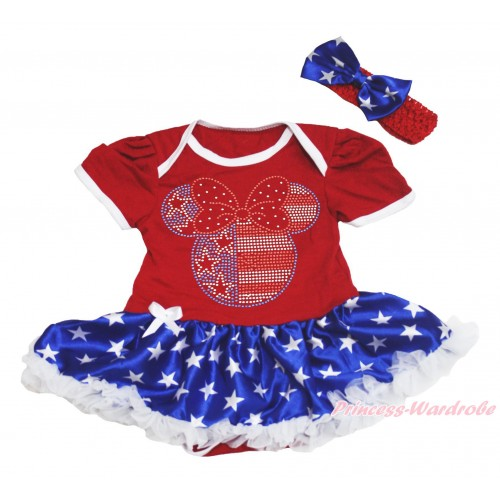 American's Birthday Red Baby Bodysuit Patriotic American Star Pettiskirt &  Sparkle Rhinestone 4th July Minnie Print JS4530