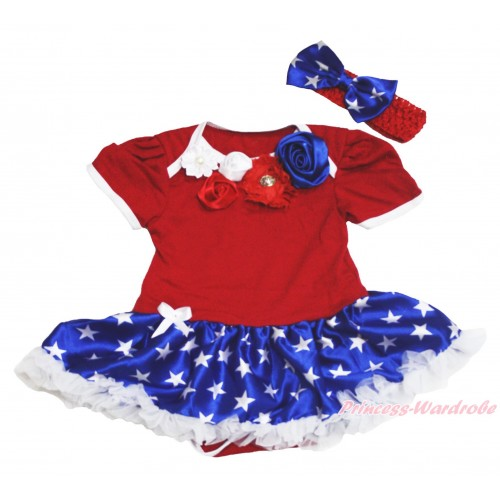 American's Birthday Red Baby Bodysuit Patriotic American Star Pettiskirt & Red White Royal Blue Vintage Garden Rosettes Lacing JS4532