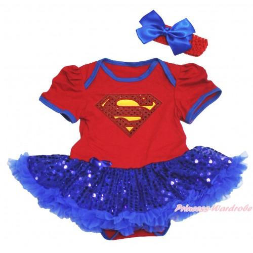 Red Baby Bodysuit Bling Royal Blue Sequins Pettiskirt & Sparkle Red Superman Print JS4535