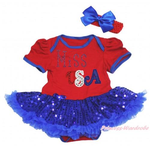 American's Birthday Red Baby Bodysuit Bling Royal Blue Sequins Pettiskirt & Sparkle Rhinestone Miss USA Print JS4537