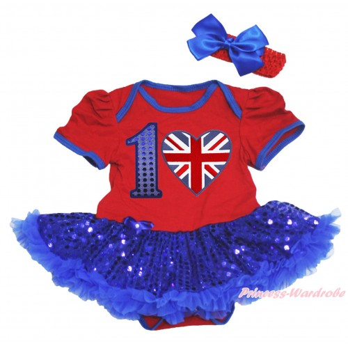 American's Birthday Red Baby Bodysuit Bling Royal Blue Sequins Pettiskirt & 1st Sparkle Royal Blue Birthday Number & British Heart Print JS4538