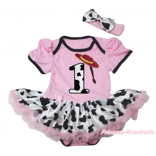 Light Pink Baby Bodysuit Milk Cow Pettiskirt & 1st Cowgirl Hat Braid Milk Cow Birthday Number Print JS4544