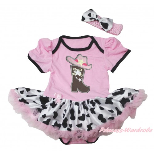 Light Pink Baby Bodysuit Milk Cow Pettiskirt & Cowgirl Hat Boot Print JS4545