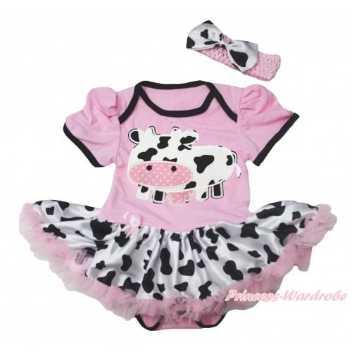 Light Pink Baby Bodysuit Milk Cow Pettiskirt & Milk Cow Print JS4546
