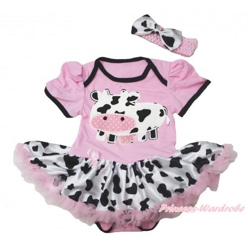 Light Pink Baby Bodysuit Milk Cow Pettiskirt & Milk Cow Print JS4546