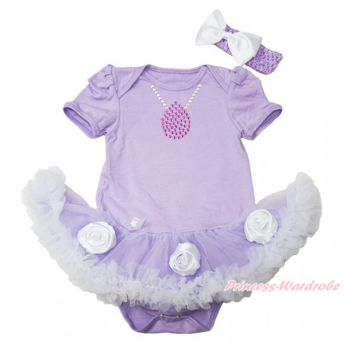 Princess Sofia Lavender Baby Bodysuit Lavender White Rose Pettiskirt & Sparkle Rhinestone Necklace Print JS4552