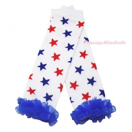 American's Birthday Newborn Baby Red Blue Star White Leg Warmers Leggings & Royal Blue Ruffles LG291