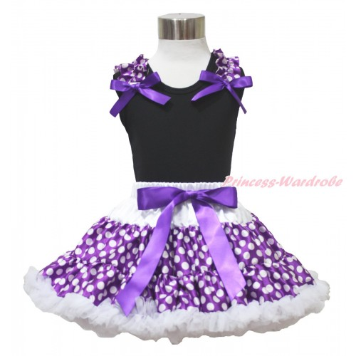 Black Tank Top Purple White Dots Ruffles Dark Purple Bow & Purple White Dots Pettiskirt MG1731