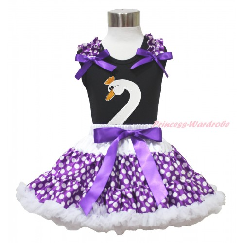 Easter Black Tank Top Purple White Dots Ruffles Dark Purple Bows & Swan Print & Purple White Dots Pettiskirt MG1735