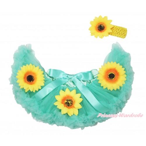 Princess Anna Fever Aqua Blue Sunflowers New Born Pettiskirt N260