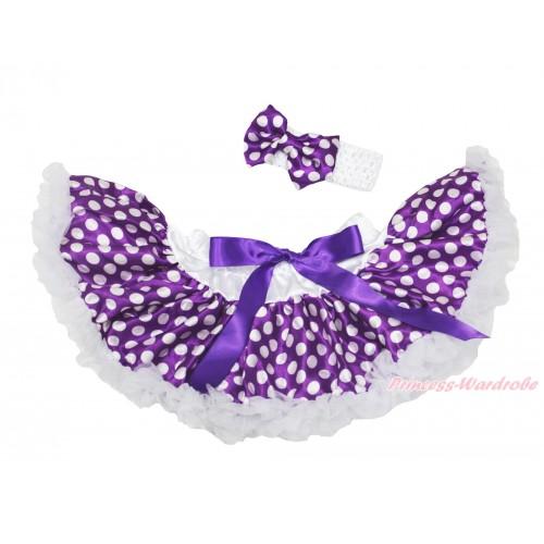 Dark Purple White Dots Newborn Pettiskirt N261