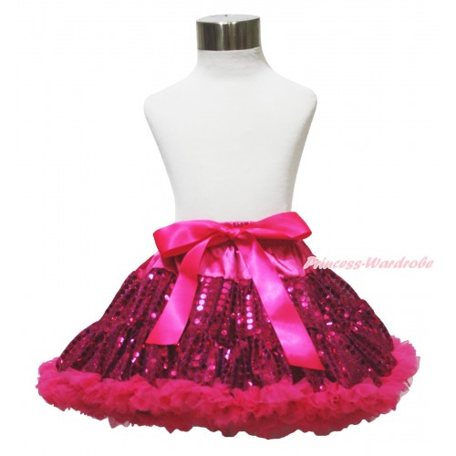 Sparkle Hot Pink Bling Sequins Full Pettiskirt P215