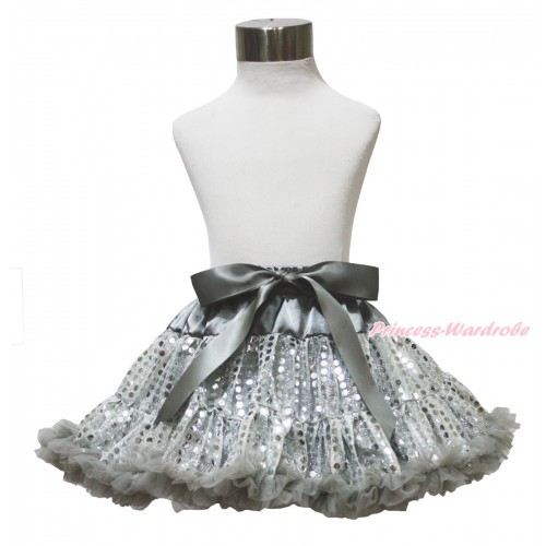 Sparkle Grey Bling Sequins Full Pettiskirt P217