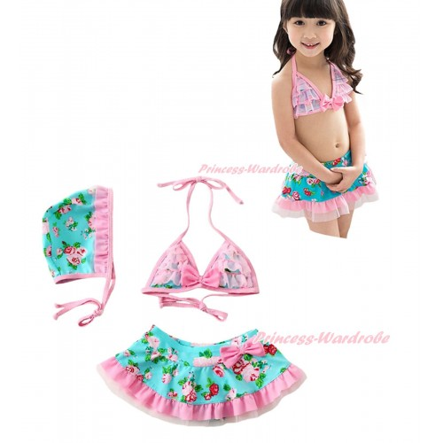 Rainbow Rose Swimming Suit with Cap SW54