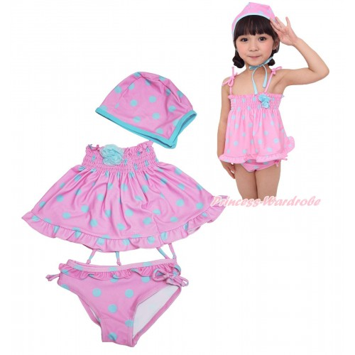 Light Blue Rose Pink Blue Dots Swimming Suit with Swim Cap SW85