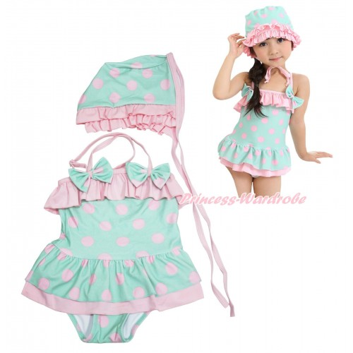 Aqua Blue Pink Dots Cute Bows Swimming Suit with Swim Cap SW87