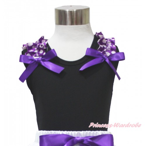 Black Tank Top Purple White Dots Ruffles Dark Purple Bow TB1206