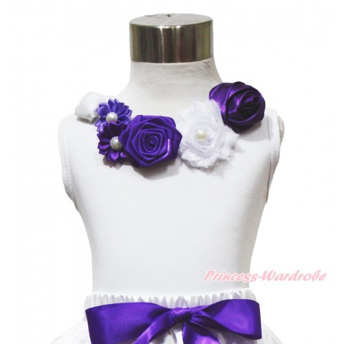White Tank Top White Purple Satin Pearl Flower Rosettes Lacing TB1217