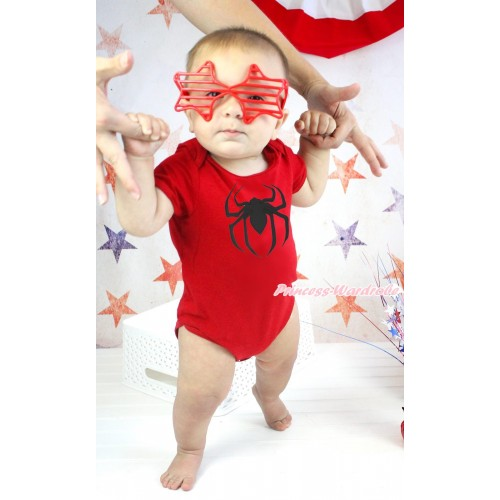 Halloween Red Baby Jumpsuit & Spider Print TH584