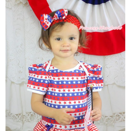 American's Birthday Red Headband Red White Blue Striped Star Satin Bow Hair Clip H1026