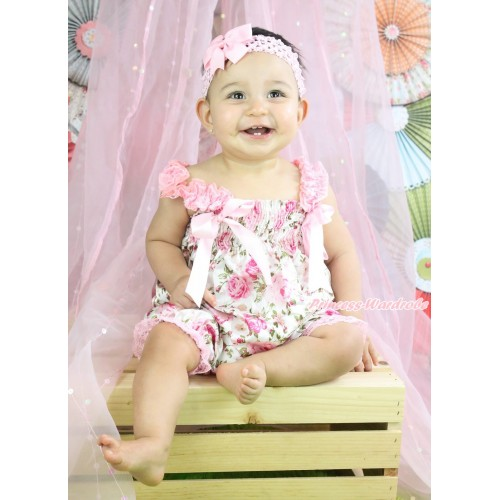 Ligth Pink Rose Fusion Loose Pant Romper with Ligth Pink Bow & Lace Straps LR199