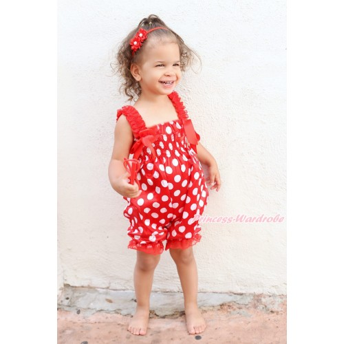 Minnie Dots Loose Pant Romper with Hot Red Bow & Lace Straps LR200