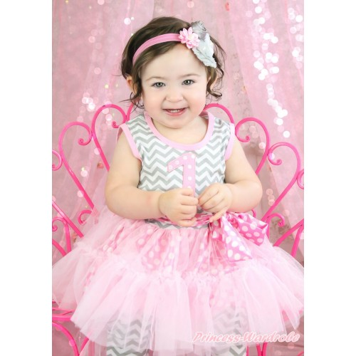 Grey White Chevron Pink White Dots Tutu Ruffles Tank Top & 1st Light Pink White Dots Birthday Number Print & Pant Set & Headband P040