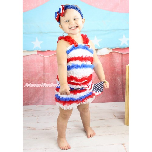 American's Birthday Red White Royal Blue Ruffles Tank Top & Pettishort P043